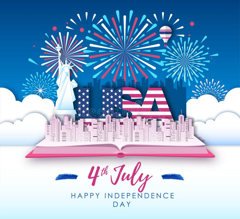 Vector illustration of America Independence day with holiday firework. Cut out paper art style design royalty free illustration