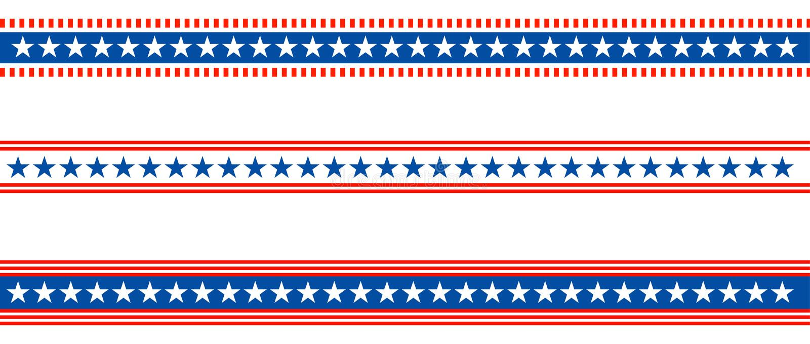 Patriotic border divider american usa flag. Vector illustration of american patriotic border divider with stars like flag