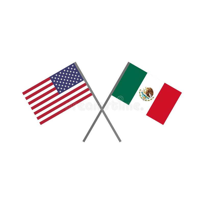 Vector illustration of the american U.S.A. flag and the mexican flag crossing each other vector illustration