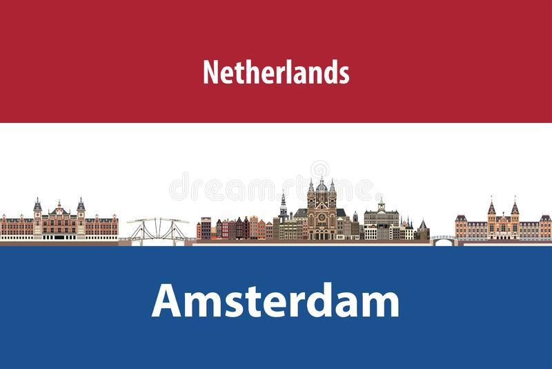 Vector illustration of Amsterdam city skyline with flag of Netherlands on background. Vector illustration of Amsterdam city skyline with flag of Netherlands stock illustration