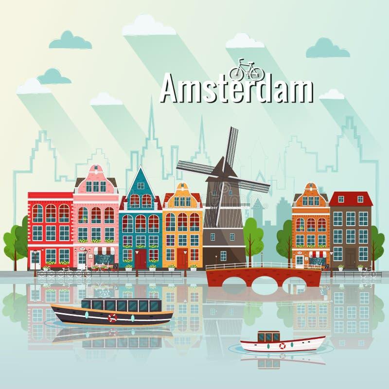 Vector illustration of Amsterdam. Old european city. vector illustration