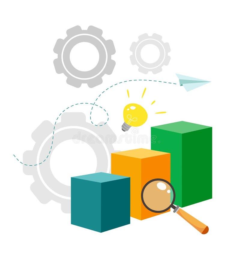 Vector illustration of analytics and data management concept. White background stock illustration