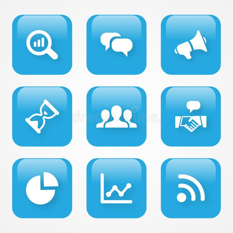 Vector illustration Analytics icon in flat style and blue color for web buttons or app vector illustration