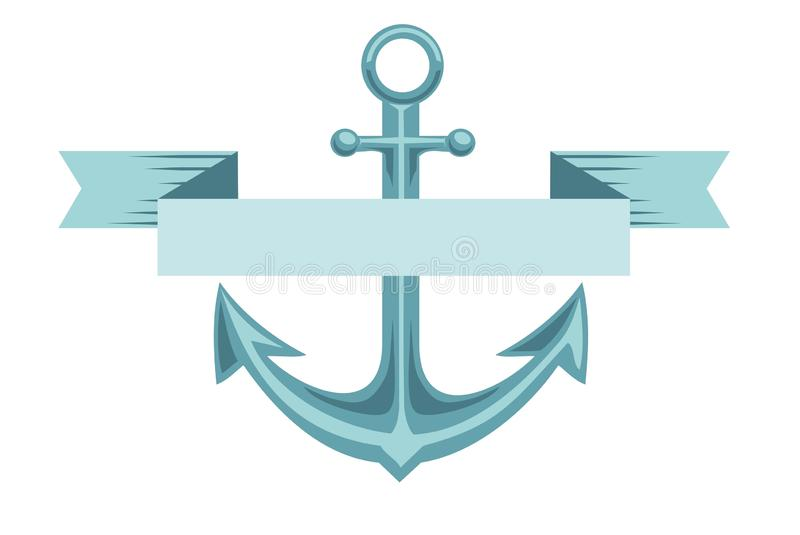 Illustration of anchor with banner.  drawing illustration, blue colorful anchor on the white background with copy space. Illustration of anchor with banner stock illustration