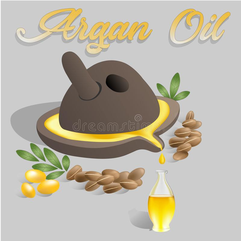 Vector illustration Ancient millstone with Argan oil flowing in a glass bottle near argan fruits and argan nuts with. Green leaves. Text Argan oil above royalty free illustration