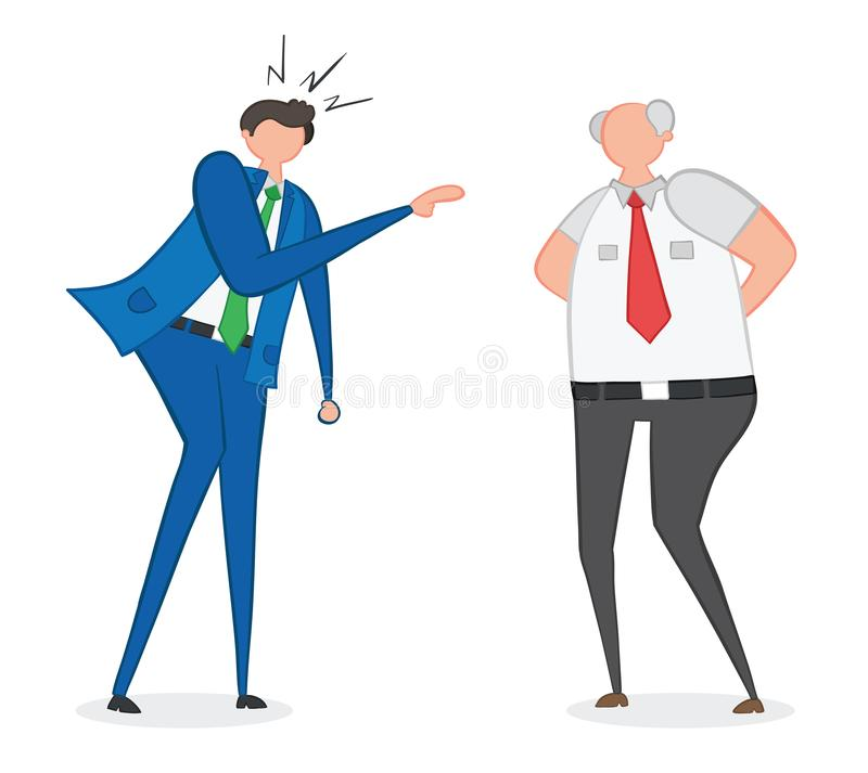 Vector illustration angry businessman and boss. Hand drawn stock illustration