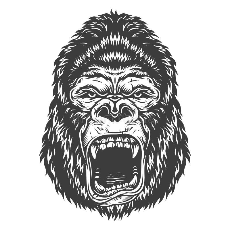 Gorilla Head In Monochrome Style Stock Vector