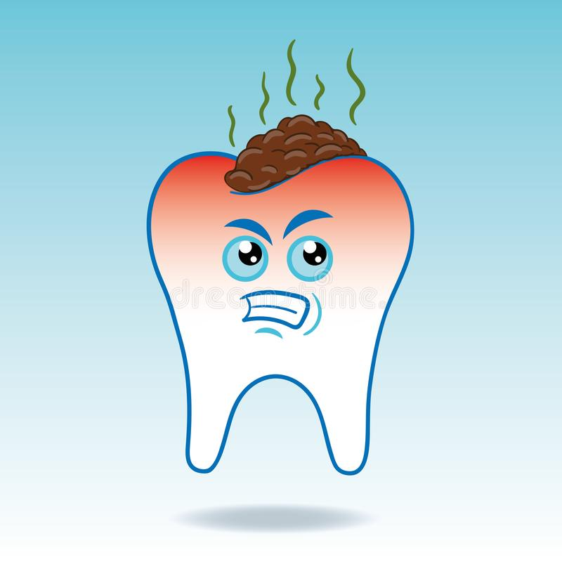 Vector Illustration of angry molar tooth with dirt and food scraps vector illustration