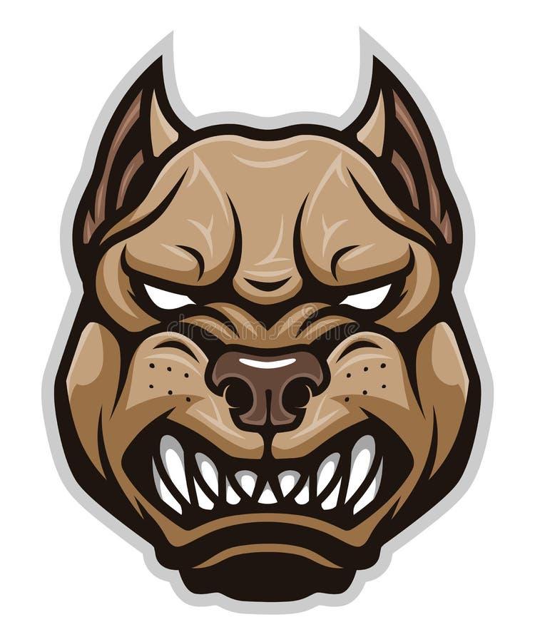 Angry dog pitbull head royalty free illustration