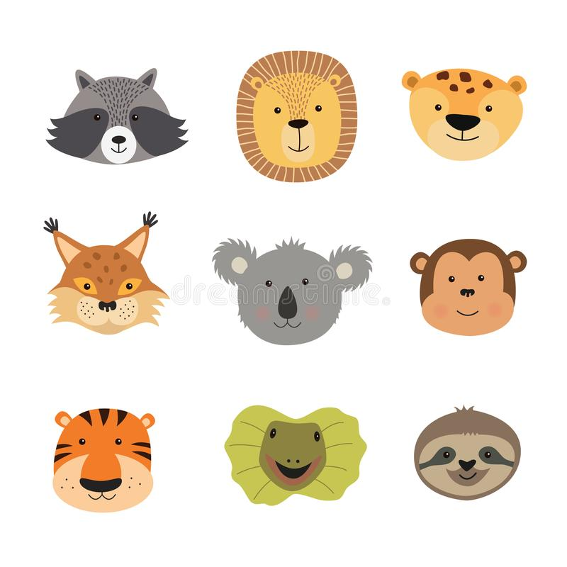 Vector illustration of animal faces including tiger, lion, Jaguar, lizard, sloth, monkey, Koala, lynx, raccoon royalty free illustration