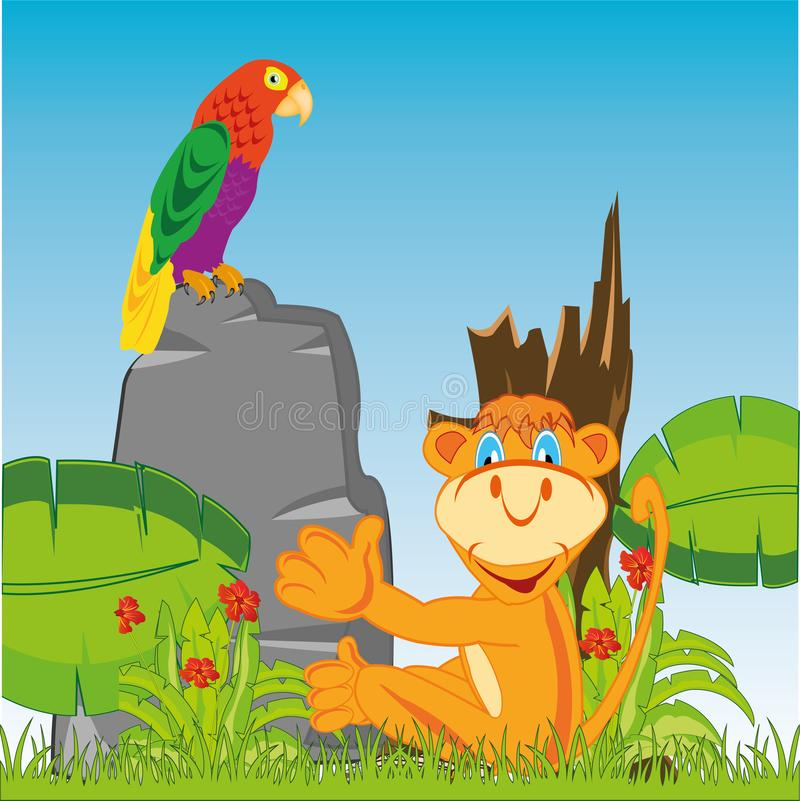 Animal marmoset and parrot amongst wild nature vector illustration
