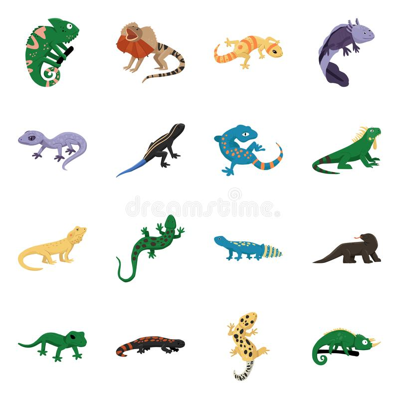 Vector illustration of animal and reptile logo. Collection of animal and nature stock symbol for web. Isolated object of animal and reptile icon. Set of animal vector illustration