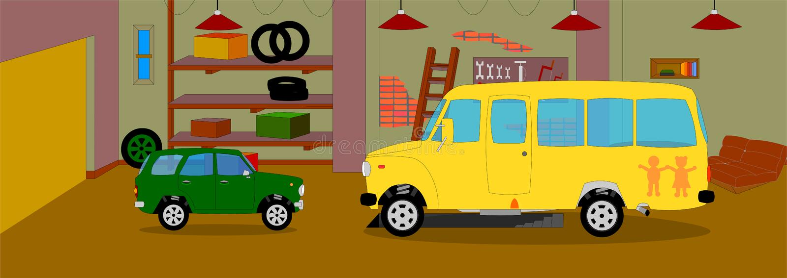 The animated background of the garage, in the garage for the repair of school bus and SUV royalty free illustration