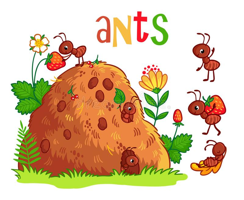 Vector illustration with an anthill and ants. Insects in the cartoon style stock illustration