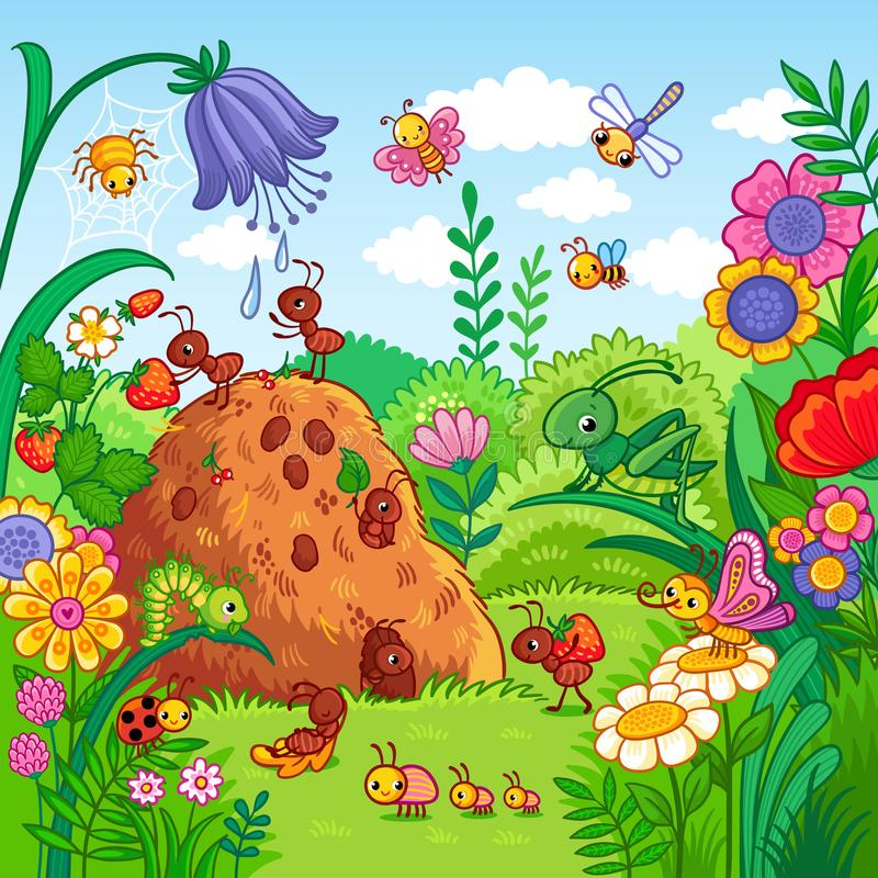 Vector illustration with an anthill and insects. Nature, flowers and insects in the children`s style vector illustration