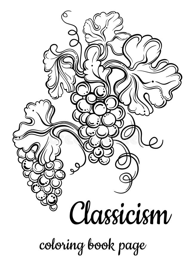 Vector illustration of antique decorative elements. Hand drawn bunch of grapes in black outlines isolated on white. Classicism. Coloring book page for adults royalty free illustration