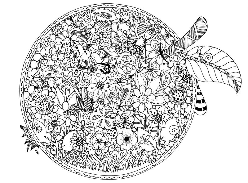 Vector illustration, apple flowers. Doodle drawing. Coloring book anti stress for adults. Black white. stock illustration