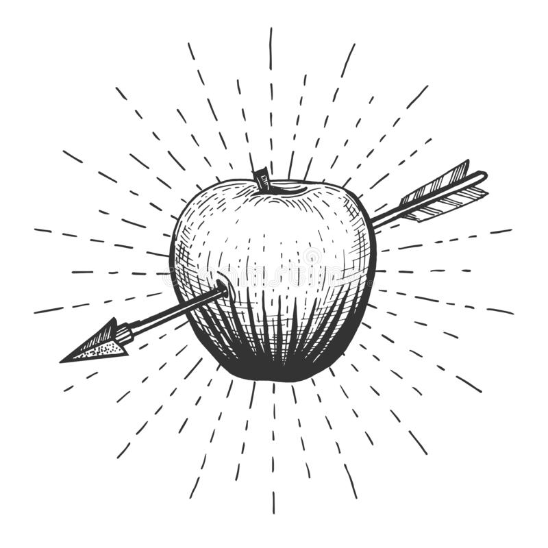 Apple shot with arrow. Vector illustration of an apple fruit target aptly shot straight with arrow on the hand drawn sunburst background. Vintage engraving style stock illustration
