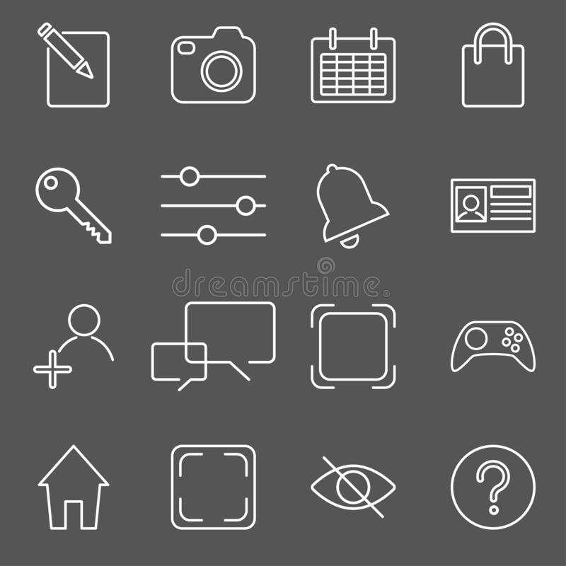Vector illustration of apps icon set over linen texture royalty free illustration