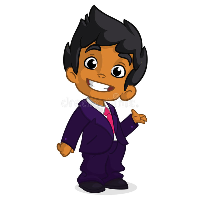 Vector illustration of a arab boy in man's clothes. Cartoon of a young boy dressed up in a business blue suit presenting stock illustration