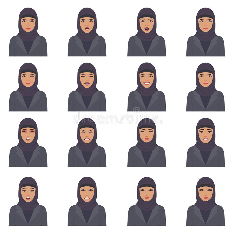 Vector illustration of a arabic face expressions vector illustration
