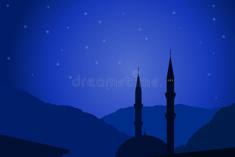 Vector illustration of Arabic night with mosque stock illustration