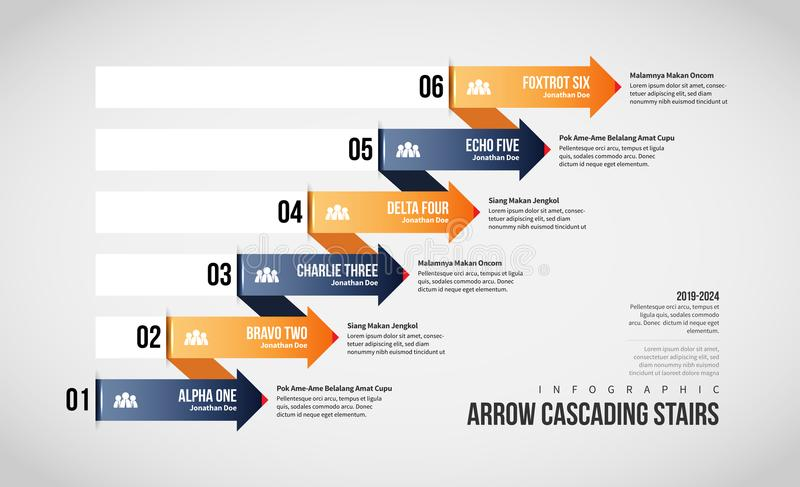 Arrow Cascading Stairs Infographic. Vector illustration of Arrow Cascading Stairs Infographic design element vector illustration