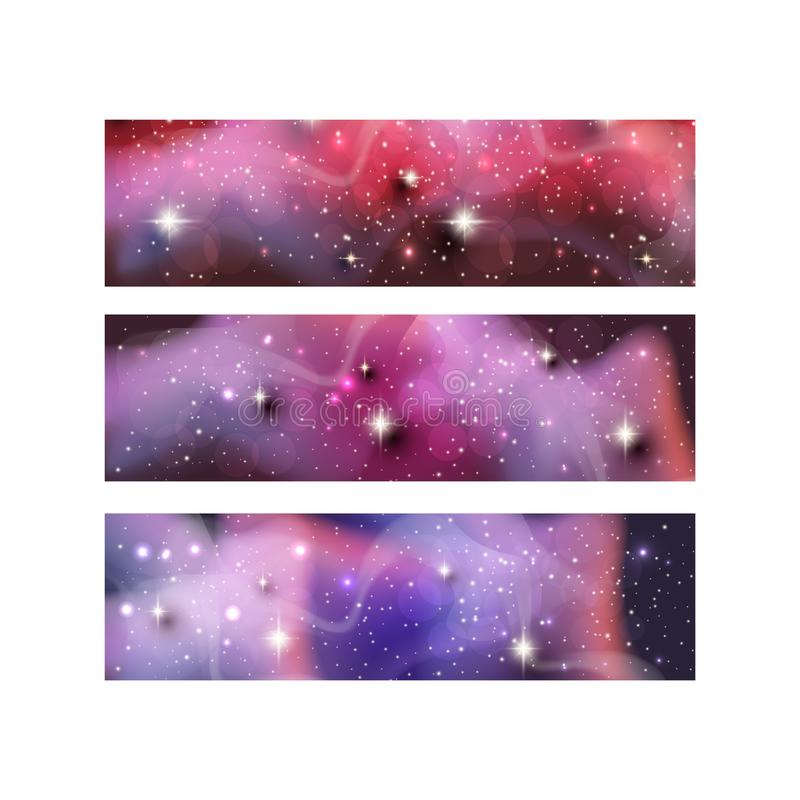Banners of Colorful galaxy space backgrounds with shining stars, stardust and nebula. Vector illustrations for artwork vector illustration