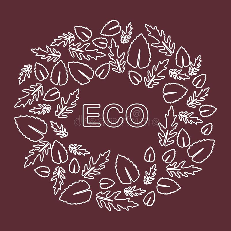 Arugula, basil leaves. Eco, vegan, bio, organic. Vector. Vector illustration with arugula and basil leaves. Eco design. Vegan, natural, bio. Organic background royalty free illustration
