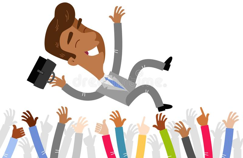 Vector illustration of an asian cartoon businessman celebrated by crowd being thrown in the air stock illustration