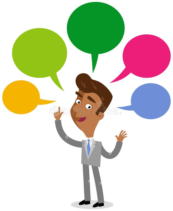 Vector illustration of an asian cartoon businessman with colorful speech balloons talking and gesturing stock illustration