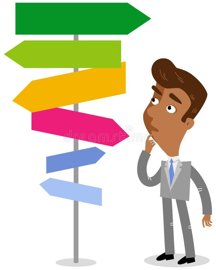 Vector illustration of an asian cartoon businessman looking confused at colorful signpost pointing in different directions royalty free illustration