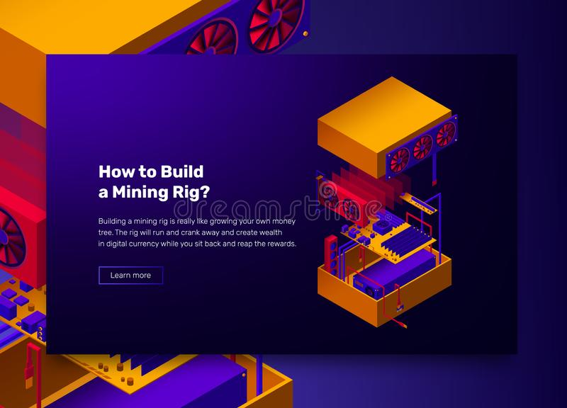 Vector illustration of assembles server for mining farm cryptocurrency, bitcoins and altcoins royalty free illustration