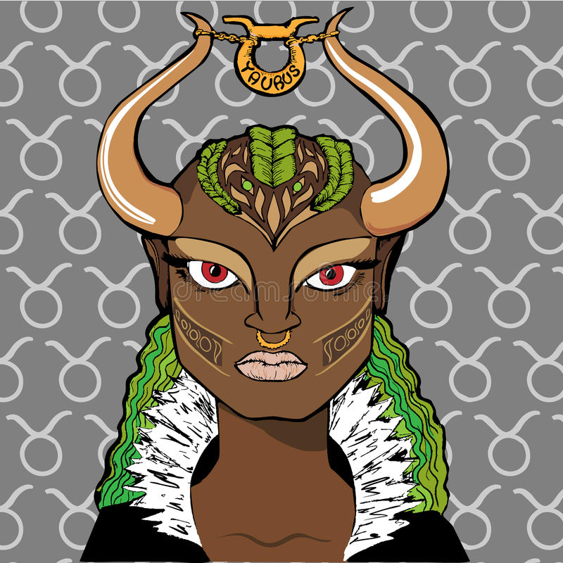Vector illustration of astrological zodiac sign as a girl - Taurus royalty free stock images