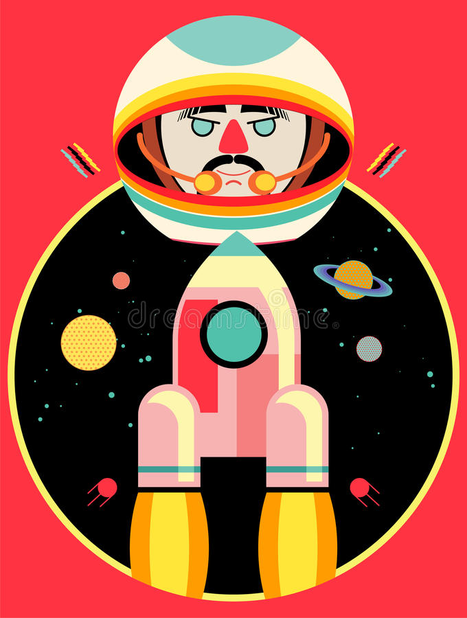 Vector illustration of astronaut and rocket on space backdrop vector illustration