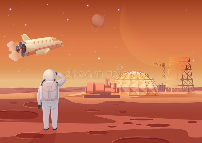 Vector illustration of astronaut standing at Mars colony and looking at flying spaceship. Vector illustration of astronaut standing at Mars colony and looking stock illustration