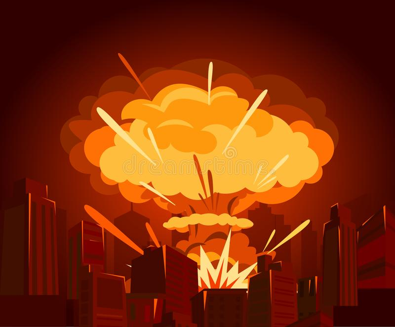 Vector illustration of atomic bomb in city. War and end of world concept in flat style. Dangers of nuclear energy. Vector illustration of atomic bomb in city royalty free illustration