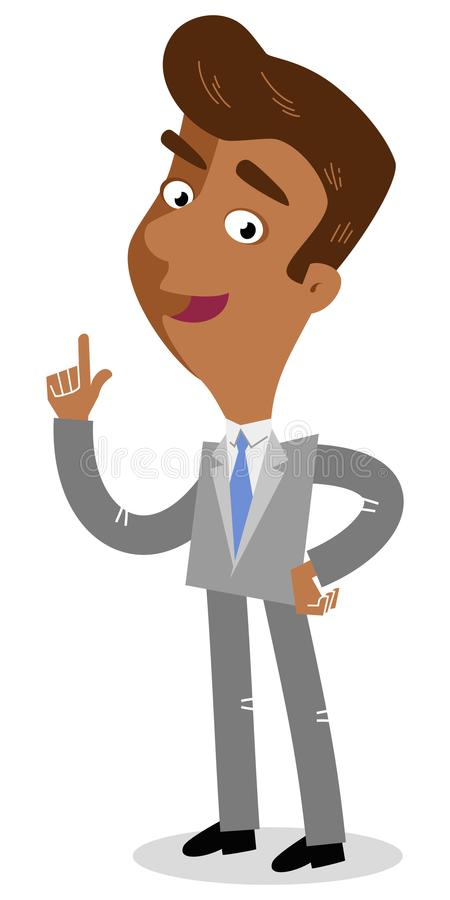 Vector illustration of an attentive asian cartoon businessman standing and pointing with finger. Isolated on white background vector illustration
