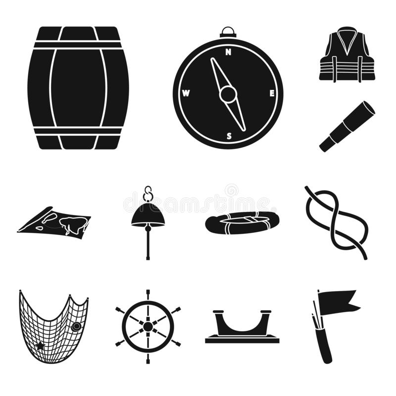 Vector illustration of attributes and vintage icon. Set of attributes and sea stock vector illustration. vector illustration