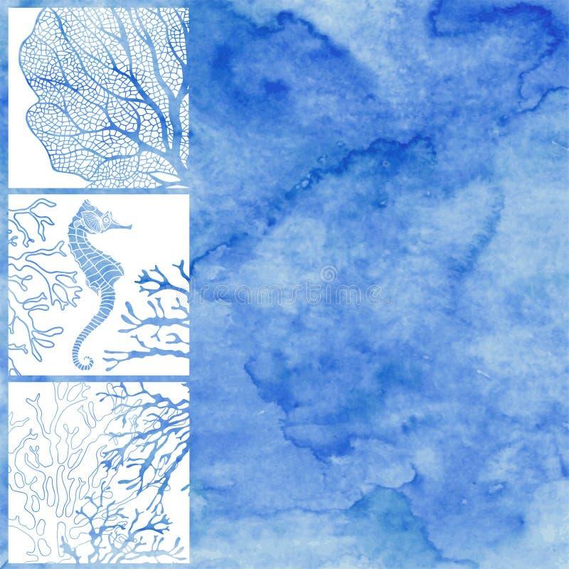 Vector Illustration auf dem Marinethema mit Raum für Text auf a stock abbildung