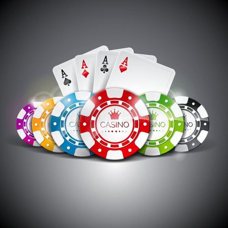 Vector Illustration auf einem Kasinothema mit der Farbe, die Chips und playig Karten auf dunklem Hintergrund spielt Spielende Ges lizenzfreie abbildung