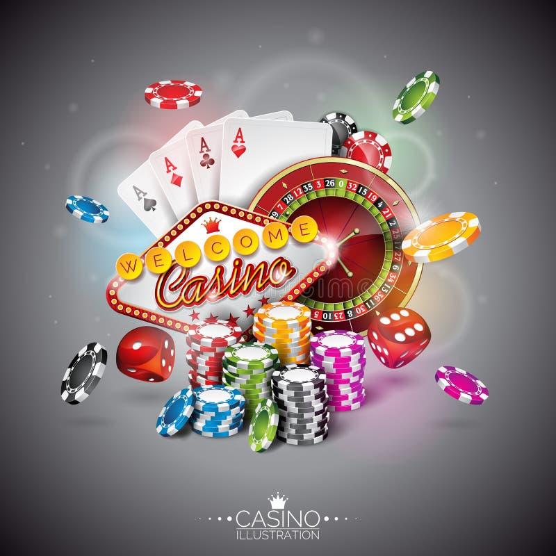 Vector Illustration auf einem Kasinothema mit der Farbe, die Chips und Pokerkarten auf dunklem Hintergrund spielt vektor abbildung