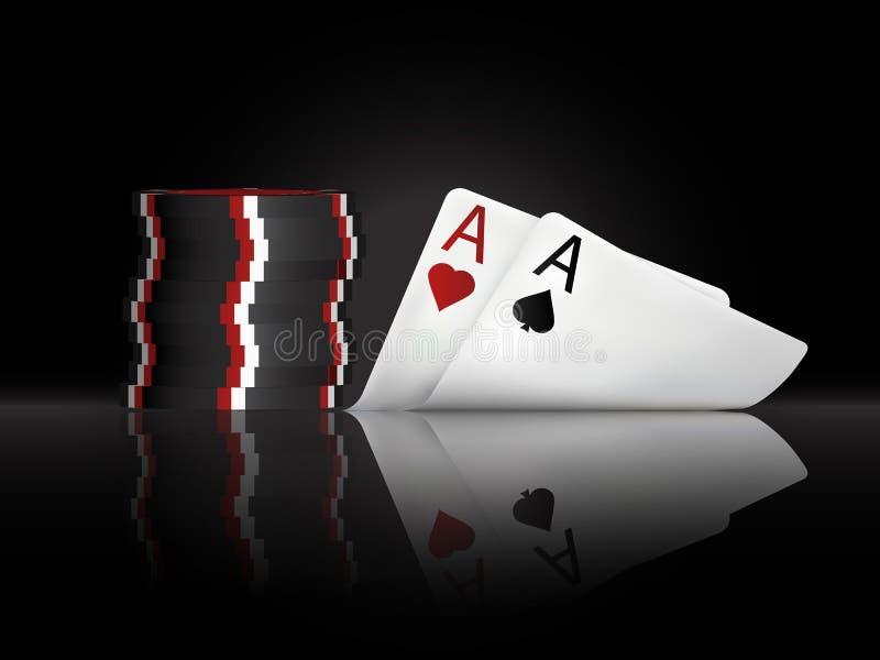 Vector Illustration auf einem Kasinothema mit Pokersymbolen und Pokerkarten auf dunklem Hintergrund lizenzfreie stockfotos