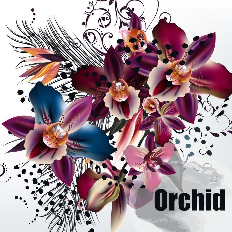 Vector Illustration auf tropischen ThemaPalmblättern und Orchideen stock abbildung