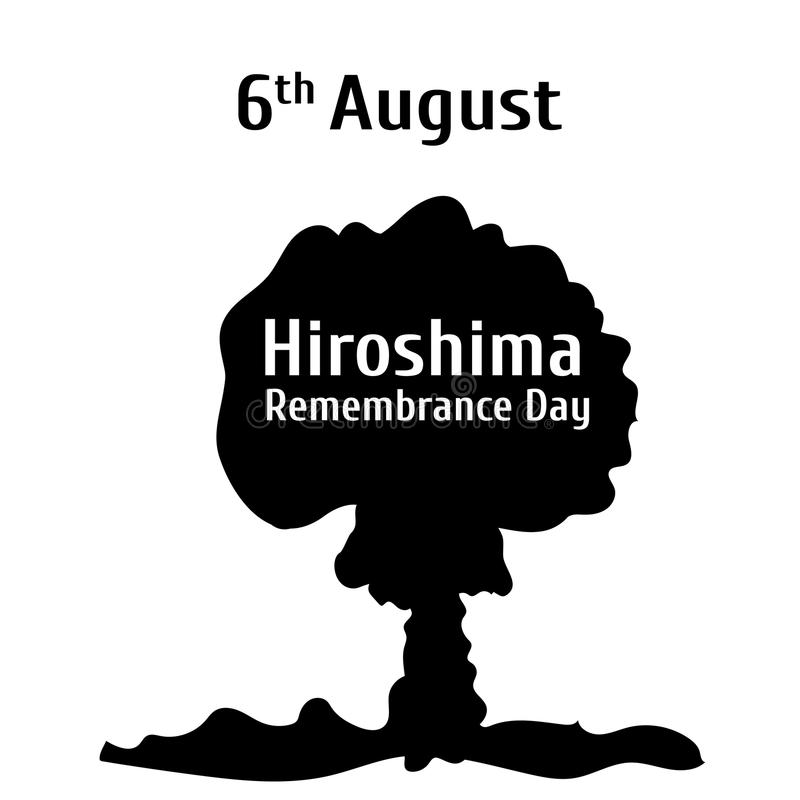 Vector illustration for 6 August hiroshima remembrance day in flat style. Design template poster, banner, flayer,greeting, invitation cards royalty free illustration