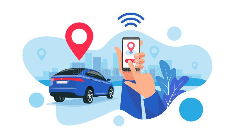 Connected Car City Sharing Service Remote Controlled Via Smartphone App stock illustration