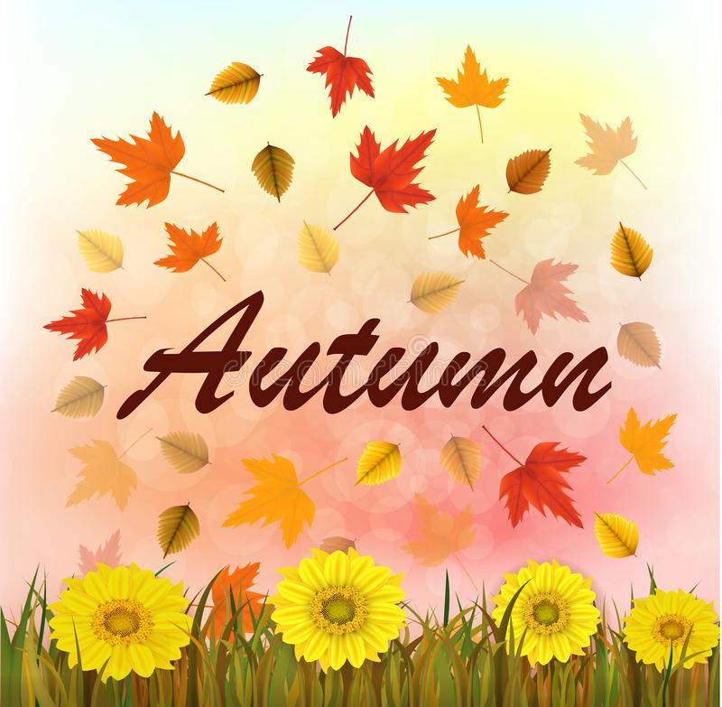 Vector illustration of an autumn bokeh background with fall leaves, grass, sunflowers. Ready elements with autumn background for y stock photo