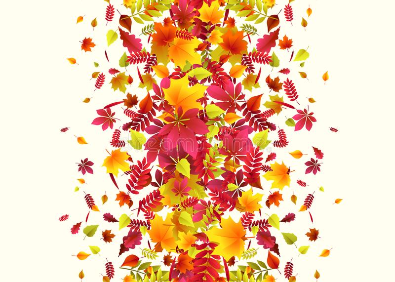 Vector illustration of autumn border background with falling leaves stock illustration
