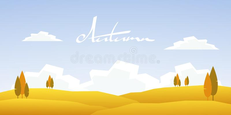 Autumn cartoon landscape vector illustration