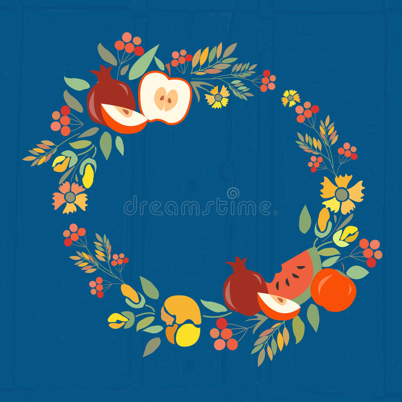Vector illustration of autumn floral wreath with fruits. Flower wreath with red, brown and orange flowers, fruits and herbs. Autumn flower template for stock illustration